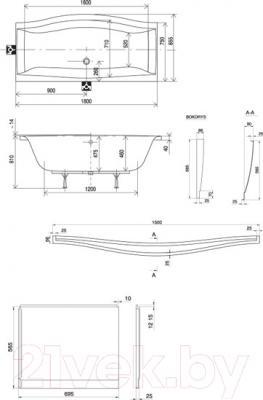 Ванна акриловая Ravak Magnolia 170x75 (C501000000) - схема