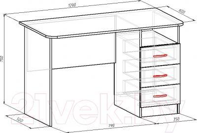 Компьютерный стол Мебель-Класс Альянс левый (венге-дуб молочный, с рисунком) - размеры