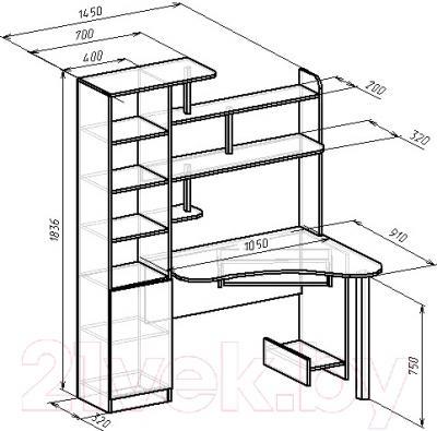 Компьютерный стол Мебель-Класс Соната левый (ясень шимо св./ясень шимо темный)