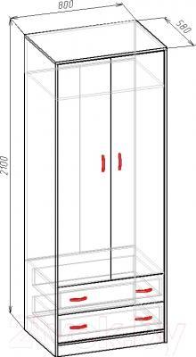 Шкаф Мебель-Класс Имидж-М (венге-дуб молочный) - размеры