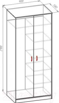 Шкаф Мебель-Класс Мэдисон-М (венге-дуб молочный) - размеры