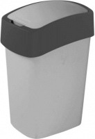 Мусорное ведро Curver Flip Bin 02170-686-00 / 186133 (10л, серебристый/антрацит) -