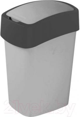 Мусорное ведро Curver Flip Bin 02170-686-00 / 186133 (10л, серебристый/антрацит)