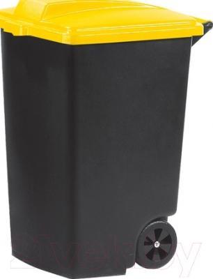 Контейнер для мусора Curver Refuse Bin 05183-857-65 / 215534 (100 л, черный/желтый)