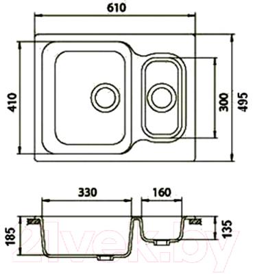 Мойка кухонная Эко-М M-09 (черный)