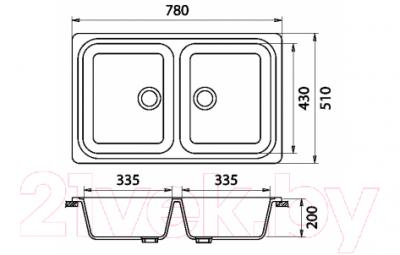 Мойка кухонная Эко-М M-78K (серый)