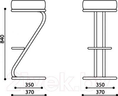 Табурет Nowy Styl Zeta Hoker Chrome (V-47) - размеры