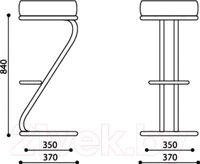 Табурет Nowy Styl Zeta Hoker Chrome (EV-16) - размеры