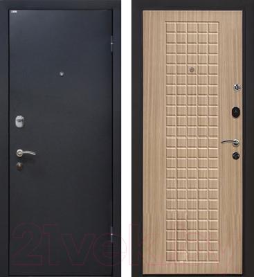 Входная дверь МеталЮр М22 Черный бархат/беленый дуб (86x206, правая)