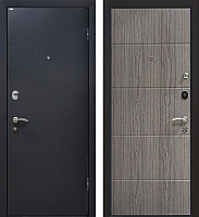 Входная дверь МеталЮр М24 Черный бархат/грей (86x206, правая) -