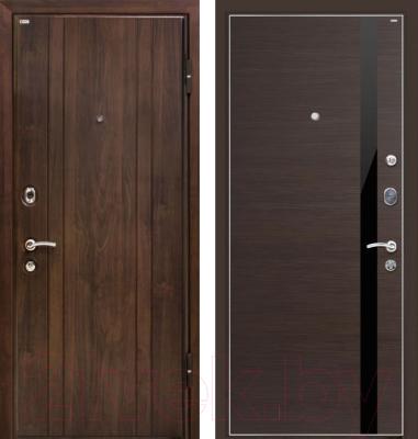 Входная дверь МеталЮр М6 Венге кроскут/черный глянец (86x206, правая)