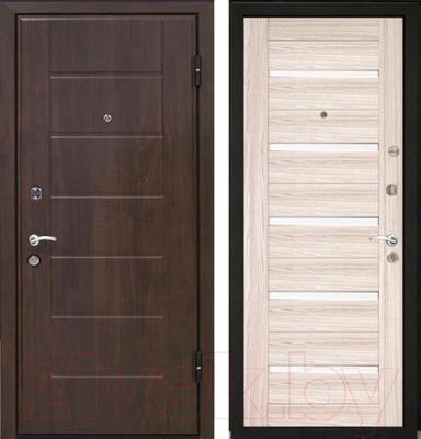 Входная дверь МеталЮр М7 Капучино мелинга/белое стекло (86x206, правая)