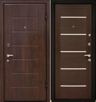 Входная дверь МеталЮр М7 Венге мелинга/белое стекло (86x206, правая)