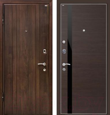 Входная дверь МеталЮр М6 Венге кроскут/черный глянец (86x206, левая)