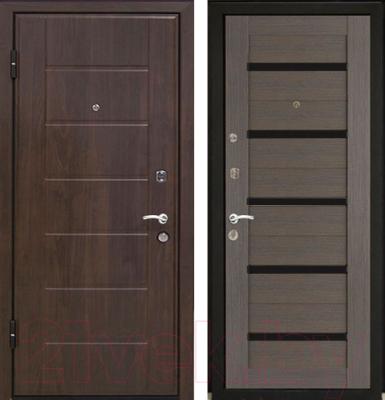 Входная дверь МеталЮр М7 Грей мелинга/белое стекло (86x206, левая)