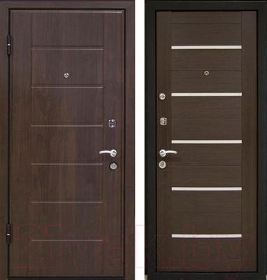 Входная дверь МеталЮр М7 Венге мелинга/белое стекло (86x206, левая)