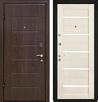 Входная дверь МеталЮр М7 Эшвайт мелинга/черное стекло (86x206, левая) -
