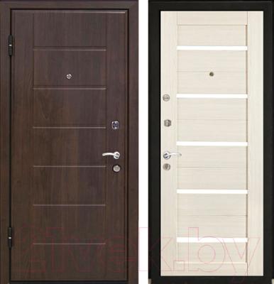 Входная дверь МеталЮр М7 Эшвайт мелинга/черное стекло (86x206, левая)