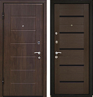 Входная дверь МеталЮр М7 Венге мелинга/черное стекло (86x206, левая) -