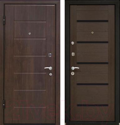 Входная дверь МеталЮр М7 Венге мелинга/черное стекло (86x206, левая)