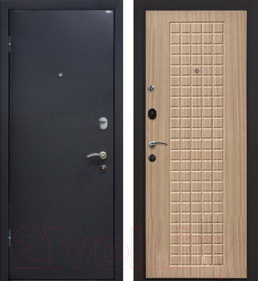 Входная дверь МеталЮр М22 Черный бархат/беленый дуб (96x206, левая)