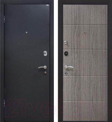 Входная дверь МеталЮр М24 Черный бархат/грей (96x206, левая)