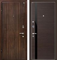 Входная дверь МеталЮр М6 Венге кроскут/черный глянец (96x206, левая) -