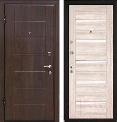 Входная дверь МеталЮр М7 Капучино мелинга/белое стекло (96x206, левая)