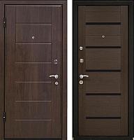 Входная дверь МеталЮр М7 Венге мелинга/черное стекло (96x206, левая) -