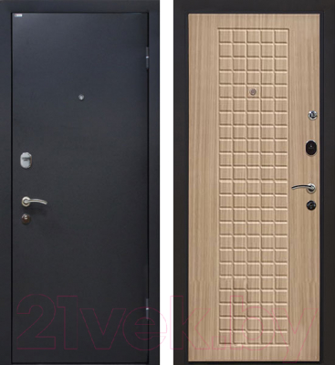 Входная дверь МеталЮр М22 Черный бархат/беленый дуб (96x206, правая)