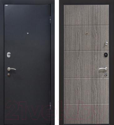Входная дверь МеталЮр М24 Черный бархат/грей (96x206, правая)