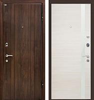 Входная дверь МеталЮр М6 Эшвайт кроскут/белый глянец (96x206, правая) -