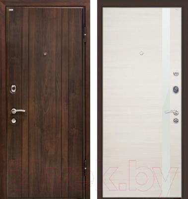 Входная дверь МеталЮр М6 Эшвайт кроскут/белый глянец (96x206, правая)