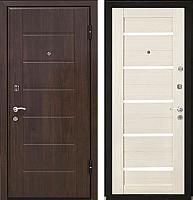 Входная дверь МеталЮр М7 Эшвайт мелинга/черное стекло (96x206, правая) -