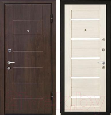 Входная дверь МеталЮр М7 Эшвайт мелинга/черное стекло (96x206, правая)