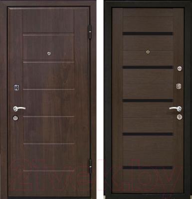 Входная дверь МеталЮр М7 Венге мелинга/черное стекло (96x206, правая)