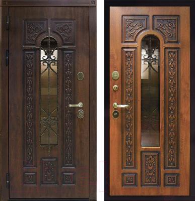 Входная дверь ЮрСталь Лацио L (96x206, дуб золотистый)