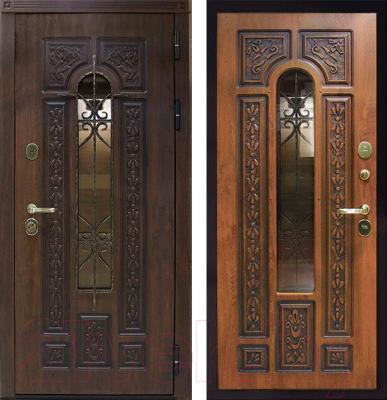 Входная дверь ЮрСталь Лацио R (96x206, дуб золотистый)