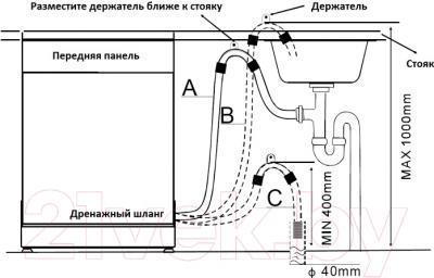 Посудомоечная машина Zigmund & Shtain DW 89.6003 X - схема установки