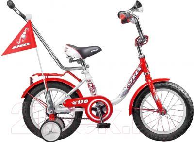 Детский велосипед с ручкой Stels Pilot 110 2016 (12, красный/белый)