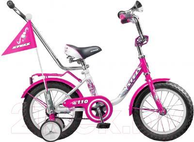 Детский велосипед с ручкой Stels Pilot 110 2016 (12, розовый/белый)