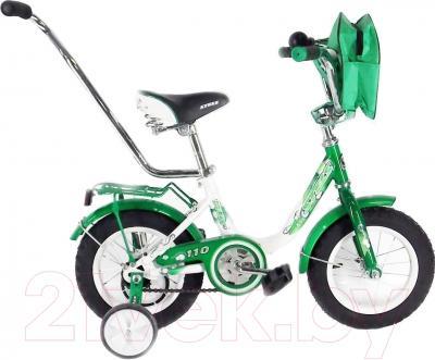 Детский велосипед с ручкой Stels Pilot 110 2016 (12, зеленый/белый)