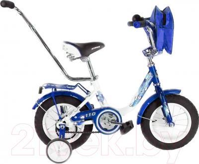 Детский велосипед с ручкой Stels Pilot 110 2016 (12, синий/белый)