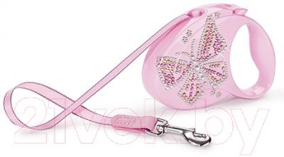 Поводок-рулетка Flexi Glam Butterfly FLX202 (S, розовый)
