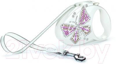 Поводок-рулетка Flexi Glam Butterfly FLX201 (S, перламутровый)