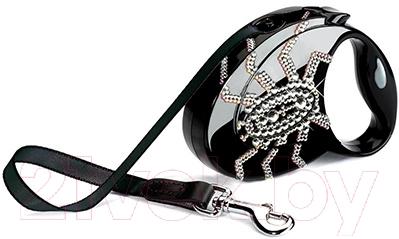 Поводок-рулетка Flexi Glam Spider FLX209 (S, черный)