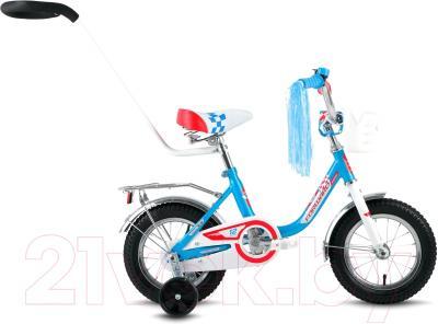 Детский велосипед с ручкой Forward Racing 12 Girl (белый/синий)