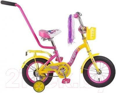 Детский велосипед с ручкой Forward Racing 12 Girl (желтый/розовый)