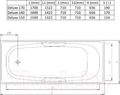 Ванна стальная Estap Deluxe 160x71 - схема