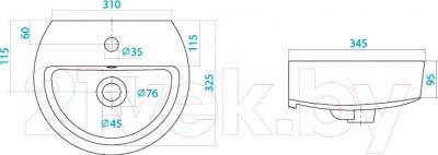 Умывальник настенный Santek Аллегро 40 (WH301950) - схема